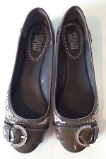 Designer COACH Khaki Animal Print+Patent Leather Ballet Flats Womens 7B-Near New