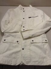Mens Small Express White Full Zip Hipster Coat Jacket Snap Button Front Stylish