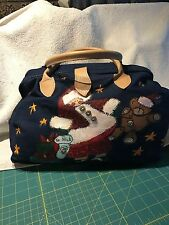 Lady's Demin Purse, St. Nick/Teddy Bear Christmas Motif, Leather Handles/Clasp