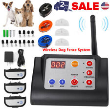 Wireless Fence System 3 Dog Containment Electric Remote Shock Bark E Collar