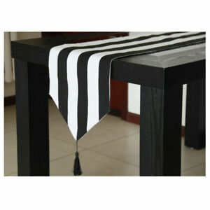Chic Table Runner Elegant Dual-color Striped Home Kitchen Dining Room Mat Decor