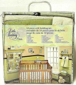 NoJo 10 Piece Crib Bedding Set Teddy Bear Unisex Nursery Green Plaid Pattern
