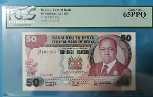 1980 Kenya 50 Shillings PCGS65 PPQ  <P-22a> GEM UNC