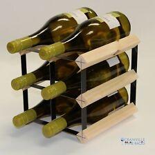 Cranville wine rack storage 6 bottle pine wood and black metal assembled