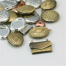 51PCS Brass Locket Pendants Photo Frame Charms for Necklaces Mixed Shape