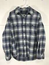 Lucky Brand Outdoors Heavy Long Sleeve Flannel Shirt Blue White Men's Size M  *T