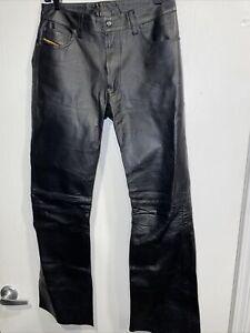 Vintage Men's Womens Diesel Black Leather Pants Waist 29x29 Zip