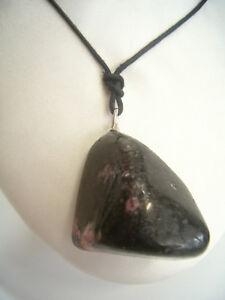 Ciondolo in ARGENTO 925 con RODONITE naturale e girocollo - pendente pietra dura