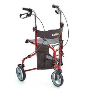 Liteway Lightweight Collapsible Folding Tri-Walker with Seat Walking Aid Red