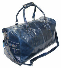 LARGE NAVY BLUE DUFFLE, HOLDALL, TRAVEL, GYM WEEKEND GLAZE  REAL LEATHER BAG