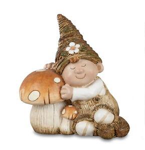 Deko Wichtel Kind Figur Junge mit Pilz Garten Skulptur Mädchen Zwerg Gnom Objekt