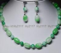 """AAA+ Light Green 10x14MM Natural Green Jade Gems Beads Necklace 18"""" Earrings Set"""