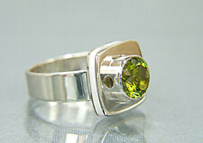 Peridot Ring. With White Marble Inlay. Custom Stone. Size 7.5
