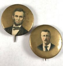 Rare Lot Of 2 1904 Rare Theodore Roosevelt Abraham Lincoln Political Pins Minty!