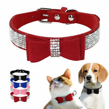 Elegant Rhinestone Cat Dog Collars Soft for Small Doggie Puppy Kitten XXS XS S M
