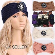 UK Ladies Jewel Knitted Ear Warmer Knot Headband Crochet Turban Winter Hair Band