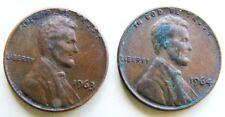 EE. UU. América par 1963 y 1964 un centavo de Lincoln monedas en buenas notas