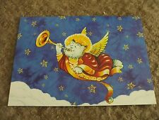 "5 cat angel Christmas Cards by tree free greetings 7""x5"""