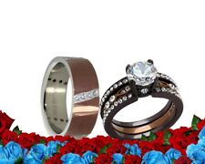 His and Her Cz Chocolate Brown Stainless Steel  Engagament band wedding ring set