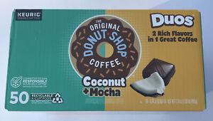 50 Donut Shop Keurig Coconut Mocha K Cups Pods Recycable Duos Coffee , 0.34oz Ea