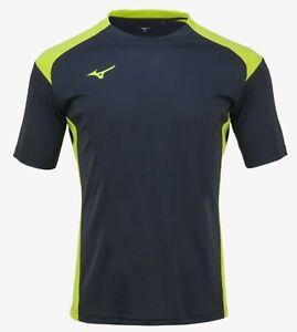 Mizuno Men Summer S/S T-Shirts Jersey Training Black Lime Top Shirt P2MA8K1145