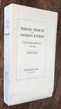 EO 1955 ex sur Hollande MARCEL PROUST & J.RIVIÈRE : CORRESPONDANCE 1914-1922