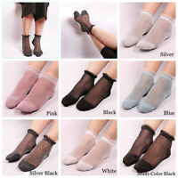 Ultrathin Transparent Colorful Glitter Crystal Silk Lace Elastic Short Socks NEW
