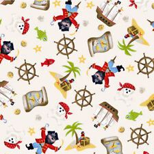 """1 yard 27 inches ANDOVER/MAKOWER UK """"PIRATE SCATTER"""" Cream"""