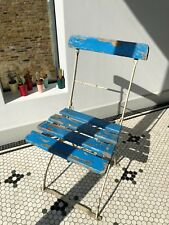 Foldable Vintage Cafe Wooden Chair - Blue
