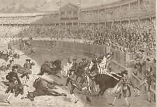 Bullfight. Madrid. Spain. Matador. Gored Horses. Harper's Weekly 1874