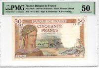 France PMG Certified Banknote France 1938 50 Francs AU 50 Pick 85b US Seller