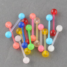 noctilucous Tongue Rings Body Piercing Jewel Belly Navel Stud 7 Colors