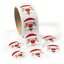 100 Santa Face Christmas HOLIDAY Stickers Card Seals Gift Bags Scrapbooking