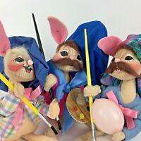 Lot 3 1990's Annalee Artist Rabbit Bunny Meredith NH Easter Egg Brush Vtg Gift