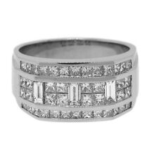 1.75ctw MENS PRINCESS & BAGUETTE DIAMOND RING 18K GOLD