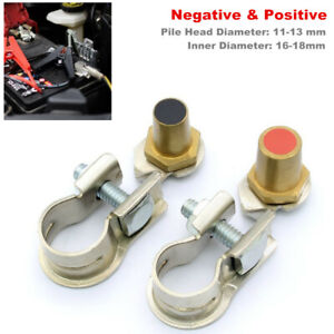2PCS Car Battery Terminal Clamp Clips Connector Negative Positive with Pile Head