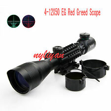Illuminated 4-12X50EG Red/Green Rangefinder Tri-Side Rifle Scope Sight For Rilfe