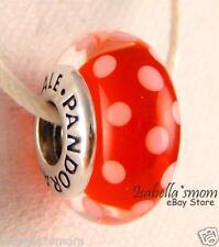 DISNEY Genuine PANDORA Red MINNIE'S SIGNATURE LOOK Murano Glass Charm 791635 NEW