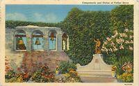 Linen Postcard CA Da019 1945 San Gabriel Mission Statue Father Serra Campanario