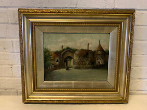 Antique English Oil on Canvas Signed Gamble Oil Painting of Nottingham Castle