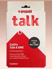 0162-Vorwahl D2 Vodafone CallYa Prepaid Talk & SMS 10€ Guthaben Cash Sim Karte