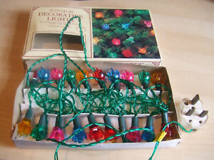 20 Vintage Working Push In Porth Decorative Christmas Lights Made in Taiwan