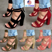 Women's Ankle Strap Sexy Open Toe Sandals High Block Heels Shoes Cocktail Party