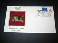 2008 Flags of our Nation North Dakota Replica FDC 22kt Gold Golden Cover Stamp