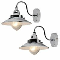 Pair of Modern Fishermans Style Wall Light Lamp Chrome & Glass Shades