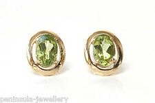 9ct Gold Peridot Studs earrings Gift Boxed Made in UK