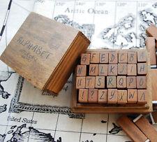 Madera Sello De Goma-antiguo alfabeto carta superior caso