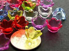 Tulip Cups Flowers Acrylic Charms Loose Beads Caps 10mm*50