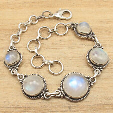 Bracelet 7.9 Inch 925 Silver Plated Cabochon RAINBOW MOONSTONE Handcrafted Gift