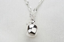 925 Sterling Silver Plated 3D MELA CIONDOLO COLLANA DONNA regalo ragazze